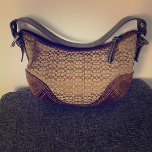 Small Coach brown monogram shoulder purse